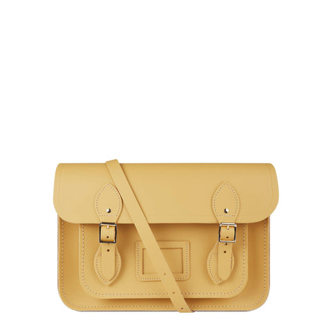 13 Inch Magnetic Satchel in Leather - Matte Indian Yellow