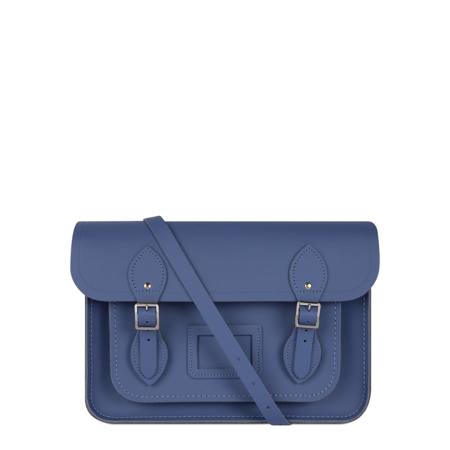 13 Inch Magnetic Satchel in Leather - Italian Blue Matte