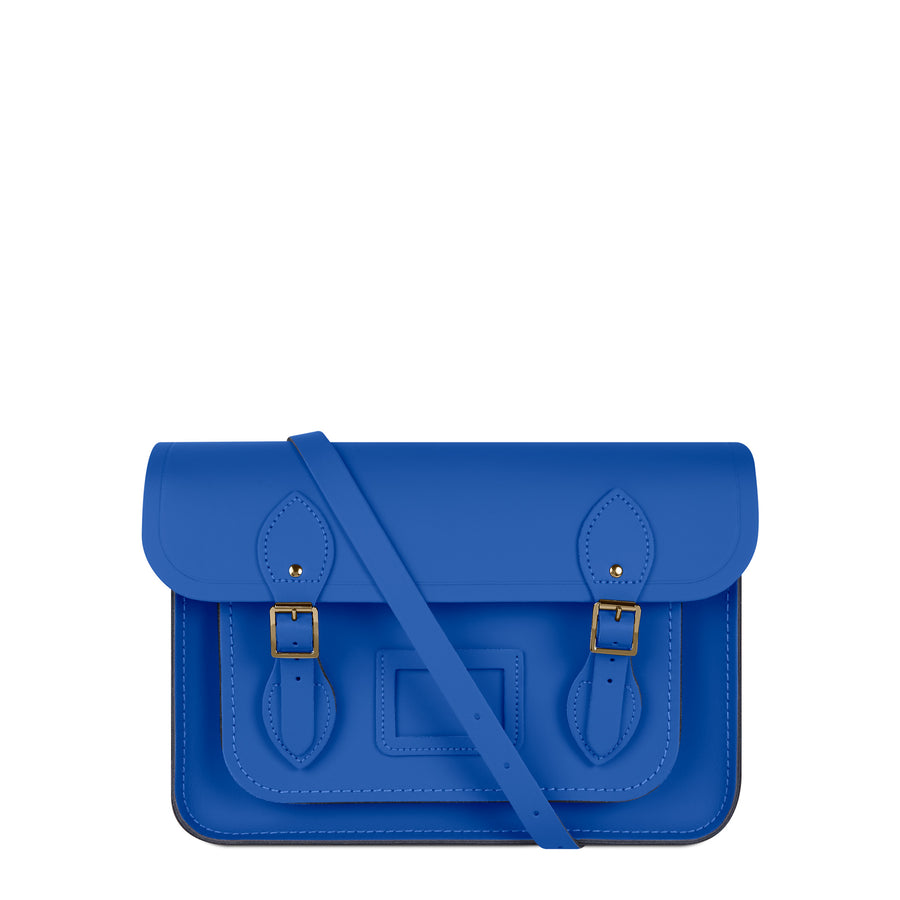 13 Inch Magnetic Satchel in Leather - Electric Cornflower Matte | Cambridge Satchel