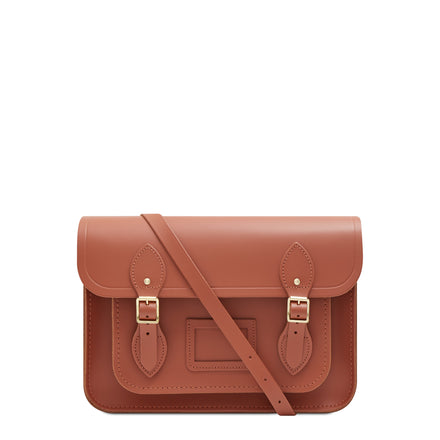 13 Inch Magnetic Satchel in Leather - Nutmeg