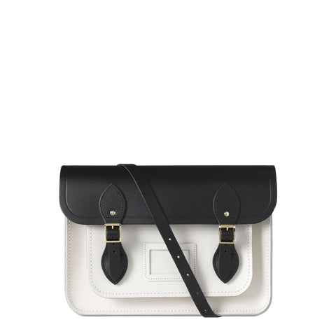 13 inch Magnetic Satchel in Leather - Black & Clay