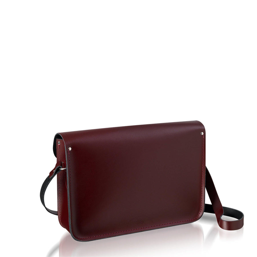 14 inch Satchel in Leather - Oxblood