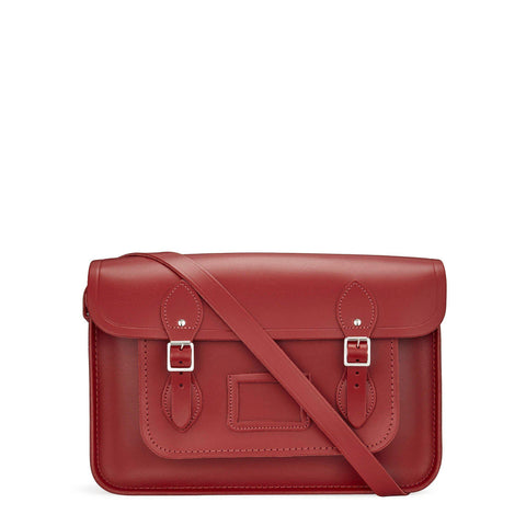 14 inch Magnetic Satchel in Leather - Red