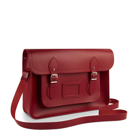 14 inch Satchel in Leather - Red