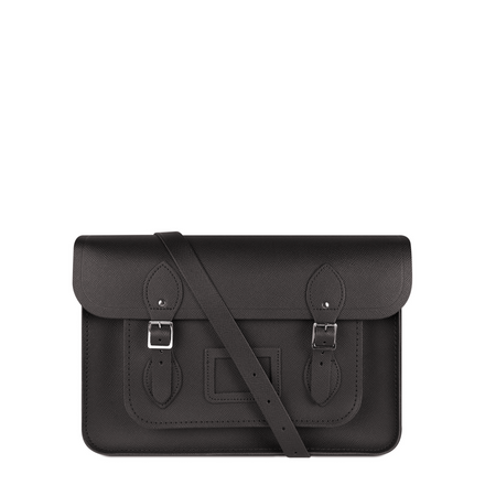14 Inch Classic Satchel in Leather - Dark Brown Saffiano