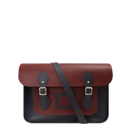 14 Inch Satchel in Leather - Oxblood & Navy