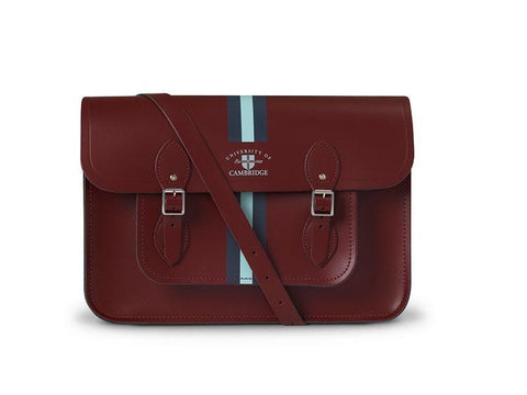 15 inch University of Cambridge Satchel in Leather - Oxblood & Cambridge Stripe