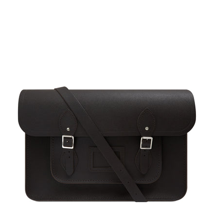 15 inch Classic Satchel in Leather - Dark Brown Saffiano