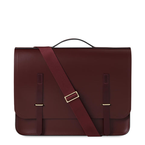 Slim Bridge Closure Bag in Leather - Oxblood & Burgundy