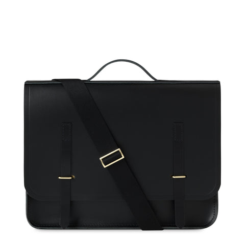 Slim Bridge Closure Bag in Leather - Black