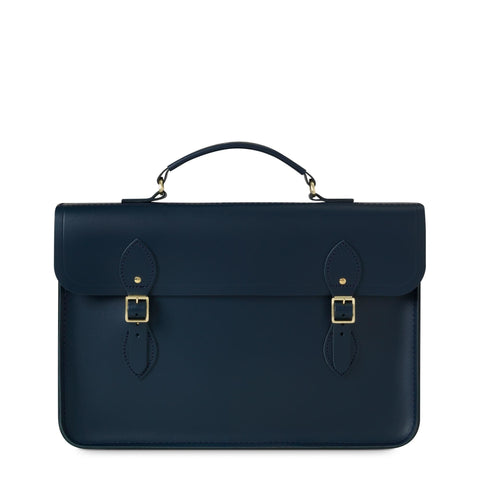 Slim Document Case in Leather - Navy