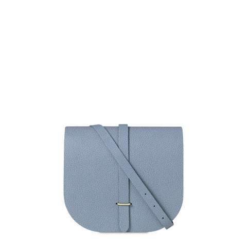 Large Saddle Bag in Grain Leather - French Grey