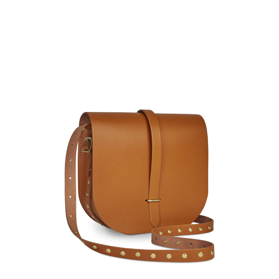 Large Saddle Bag in Leather - Canyon with Brass Rivets Strap