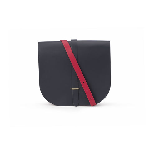 Large Saddle Bag in Leather - Navy & Crimson