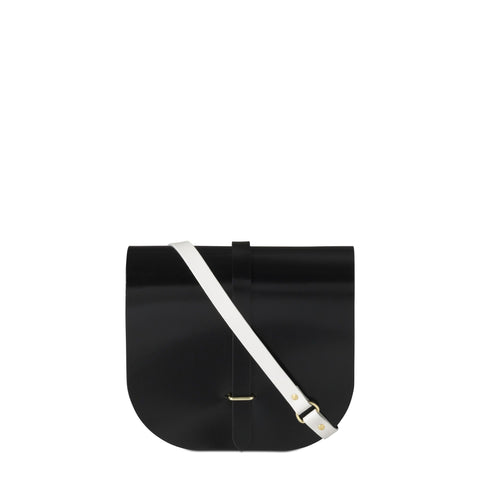 Large Saddle Bag in Leather - Black Patent and Clay