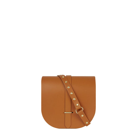 Saddle Bag in Leather - Canyon & Brass Rivets on Shoulder Strap | Cambridge Satchel