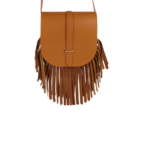 Saddle Bag in Leather - Canyon & Vintage Suede Fringing | Cambridge Satchel