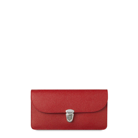 Push Lock Purse with Card Slots in Saffiano Leather - Red Saffiano