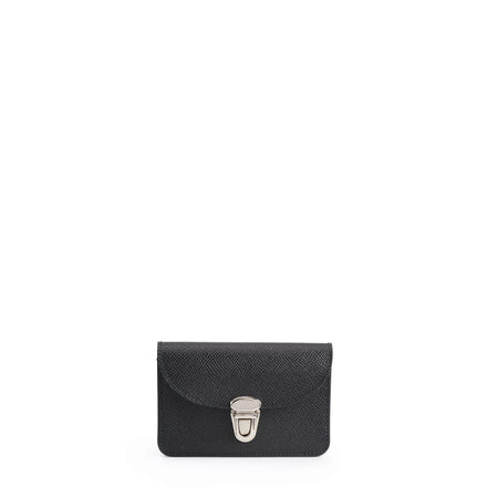 Small Push Lock Purse in Saffiano Leather - Black