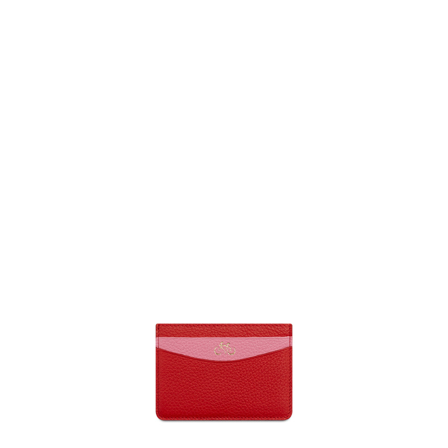 Scoop Side Card Case in Leather - Pink & Red