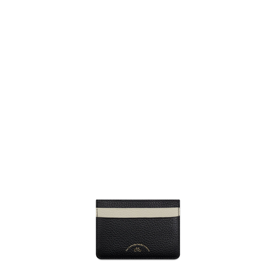 Scoop Side Card Case in Leather - Black & Taupe