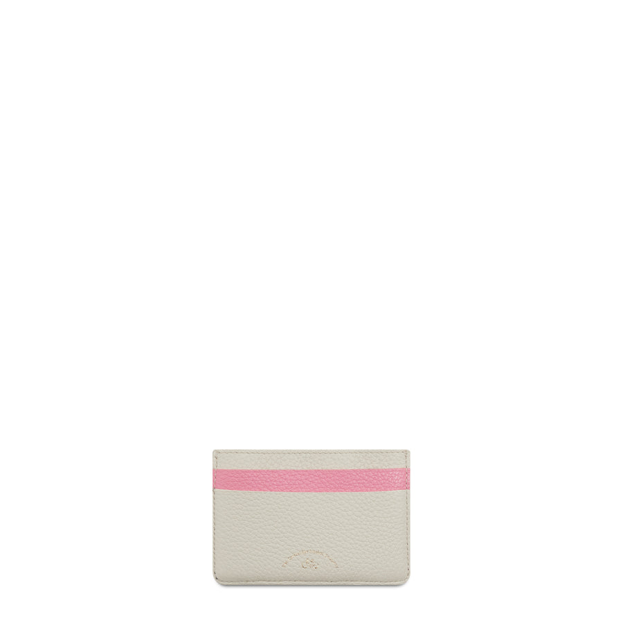 Scoop Side Card Case in Leather - Pink & Taupe