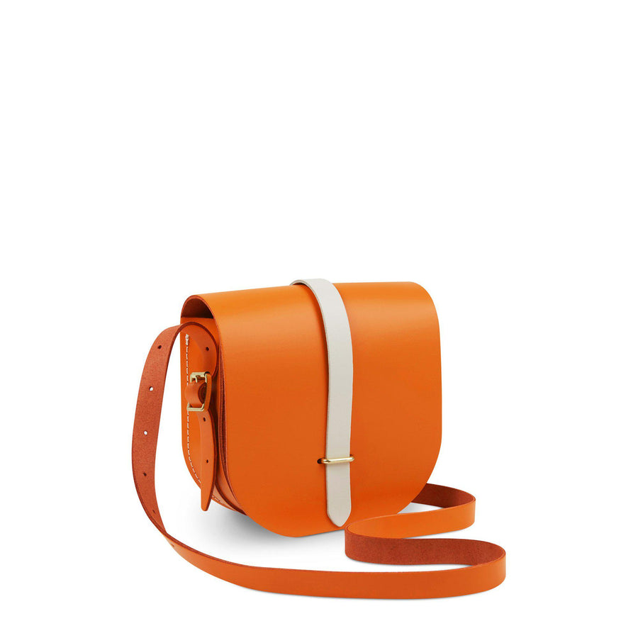 Saddle Bag in Leather - Sunset with Clay Bridge Strap