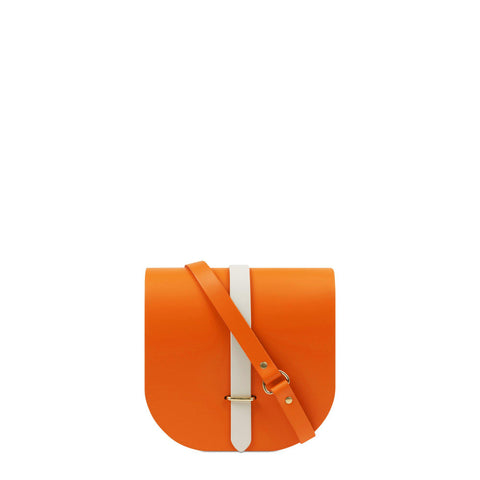 Saddle Bag in Leather - Sunset with Clay Bridge Strap | Cambridge Satchel
