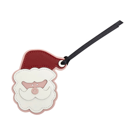 Santa Christmas Decoration in Leather - Dusky Rose, Red, Off White & Black