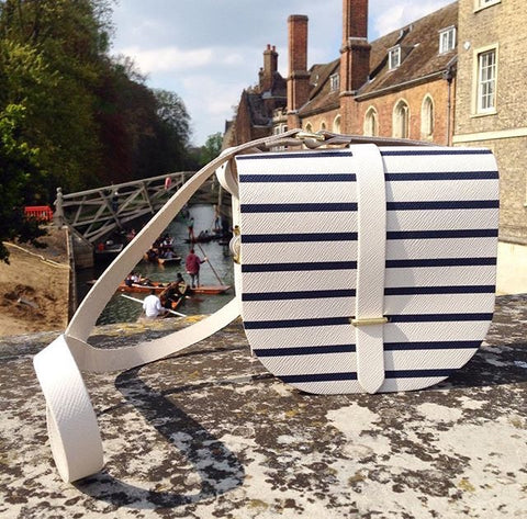 Saddle Bag in Saffiano Leather - Navy Breton Stripe