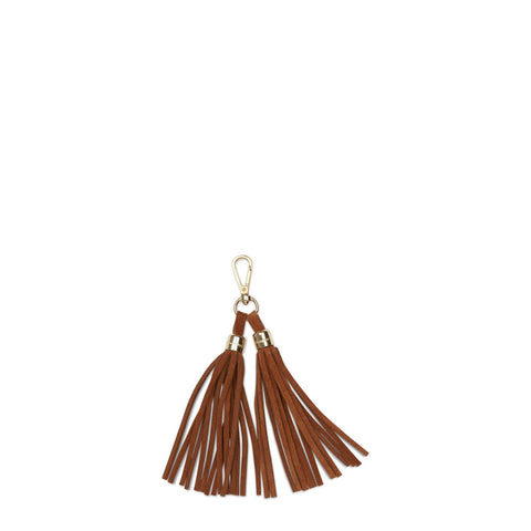 Tassel Keyring in Suede Leather - Dark Olive Suede