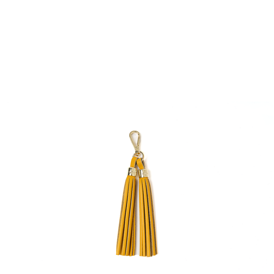 Tassel Keychain in Leather - Lemon Curd