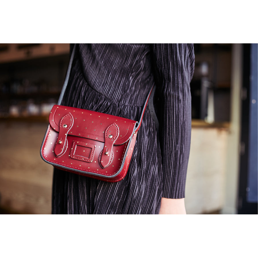 Womens - Tiny Satchel in Leather - Gold Dot on Oxblood - Cambridge Satchel