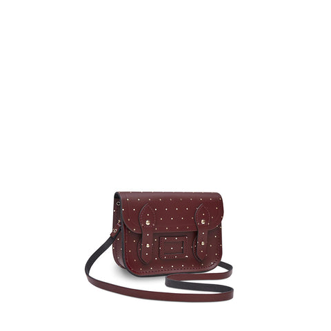 Tiny Satchel in Leather - Gold Dot on Oxblood