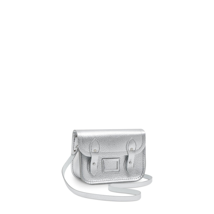 Tiny Satchel in Leather - Silver Metallic Foil Celtic Grain