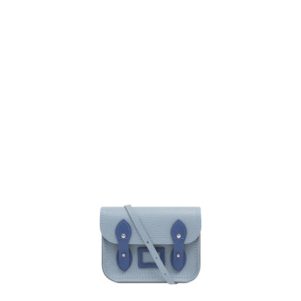 Tiny Satchel in Leather - French Grey Celtic Grain & Italian Blue Matte