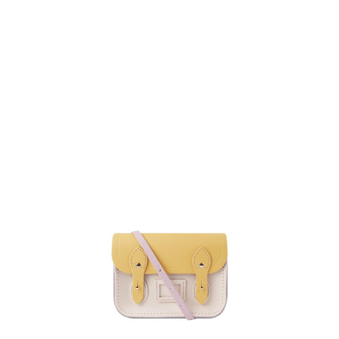 Tiny Satchel in Leather - Light Lilac, Matte Indian Yellow & Chalk