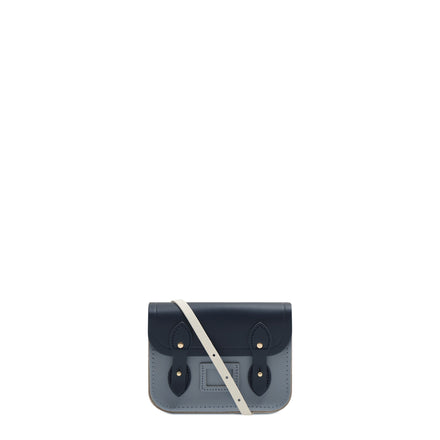 Tiny Satchel in Leather - Navy, Lily White & French Grey