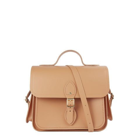 Large Traveller Bag with Side Pockets in Leather - Sand