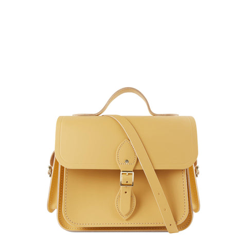 Large Traveller Bag with Side Pockets in Leather - Matte Indian Yellow