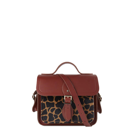 Traveller Bag with Side Pockets in Leather - Brandy & Giraffe Haircalf | Cambridge Satchel