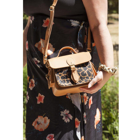 Womens | Traveller Bag with Side Pockets in Leather - Sand & Giraffe Haircalf | Cambridge Satchel