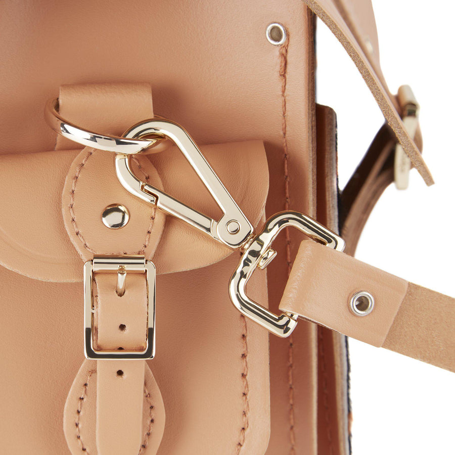 Traveller Bag with Side Pockets in Leather - Sand & Giraffe Haircalf | Cambridge Satchel