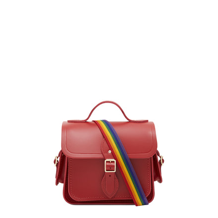 Traveller Bag with Side Pockets in Leather - Classic Red with Rainbow Webbing Strap