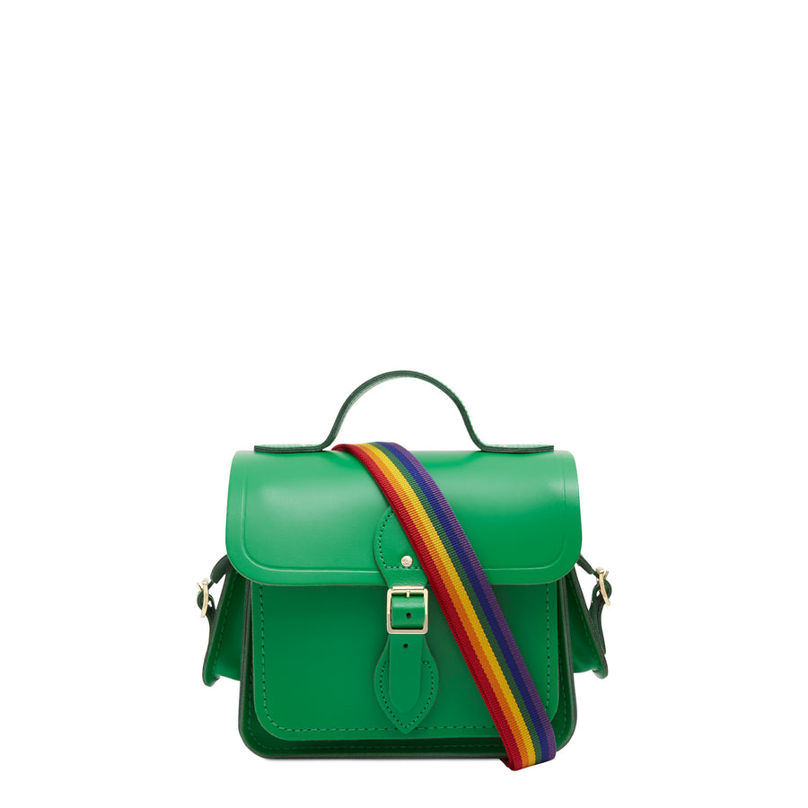 Traveller Bag with Side Pockets in Leather - Green with Rainbow Webbing Strap