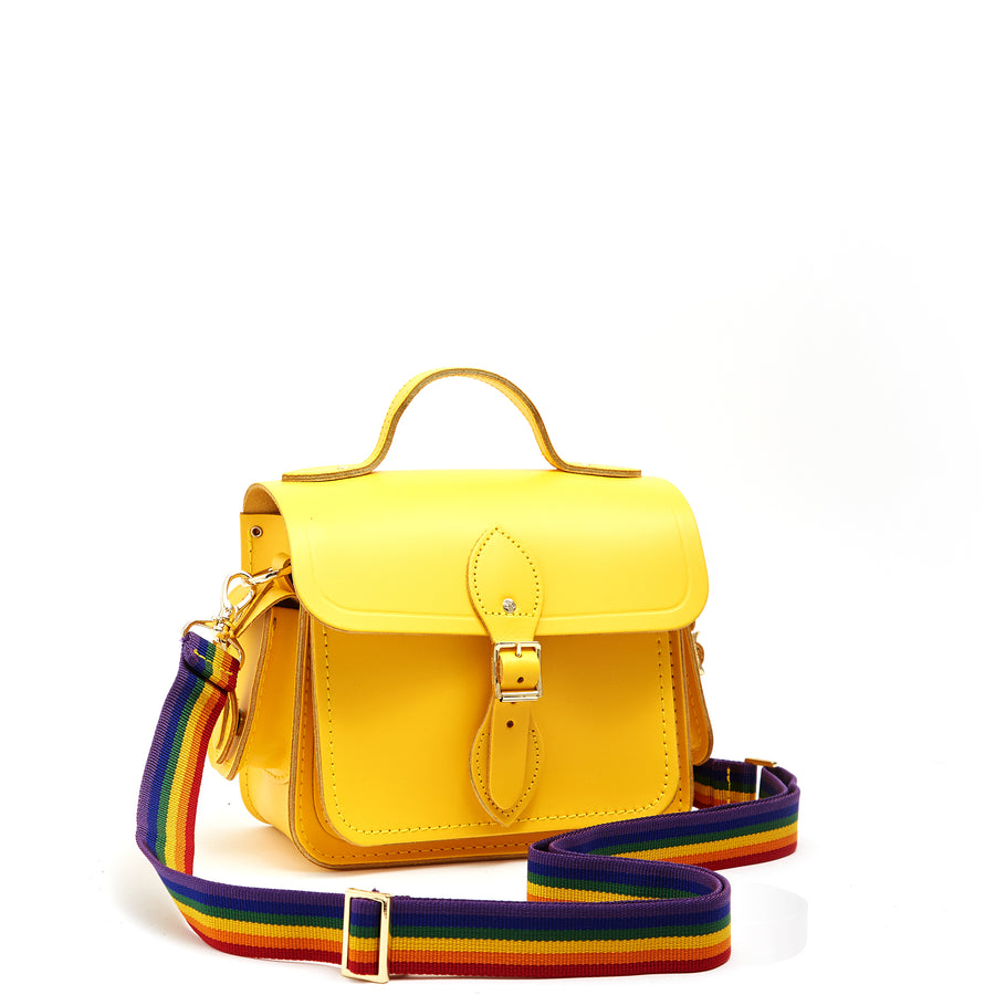 Traveller Bag with Side Pockets in Leather - Spectra Yellow with Rainbow Webbing Strap