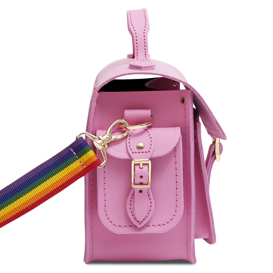 Traveller Bag with Side Pockets in Leather - Violet Matte with Rainbow Webbing Strap