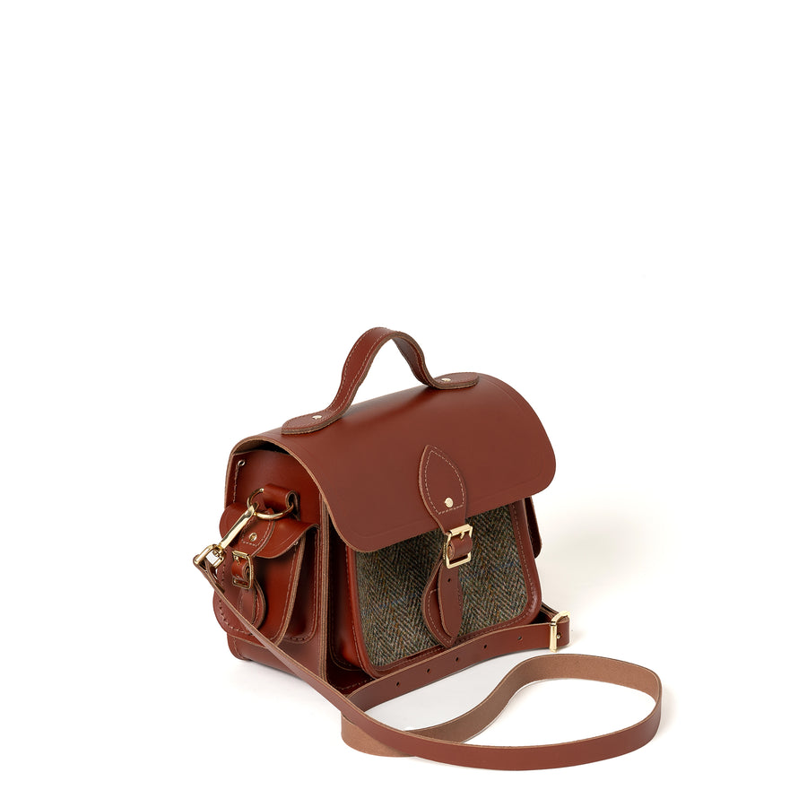 Traveller Bag with Side Pockets in Leather - Brandy with Green Tweed