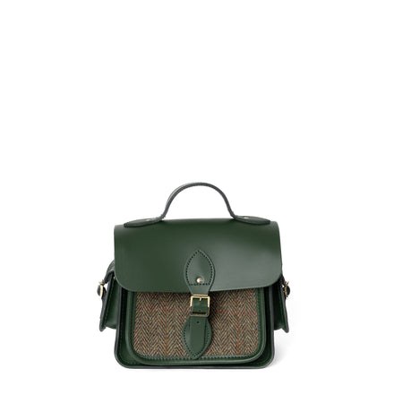 Traveller Bag with Side Pockets in Leather - Racing Green with Green Tweed