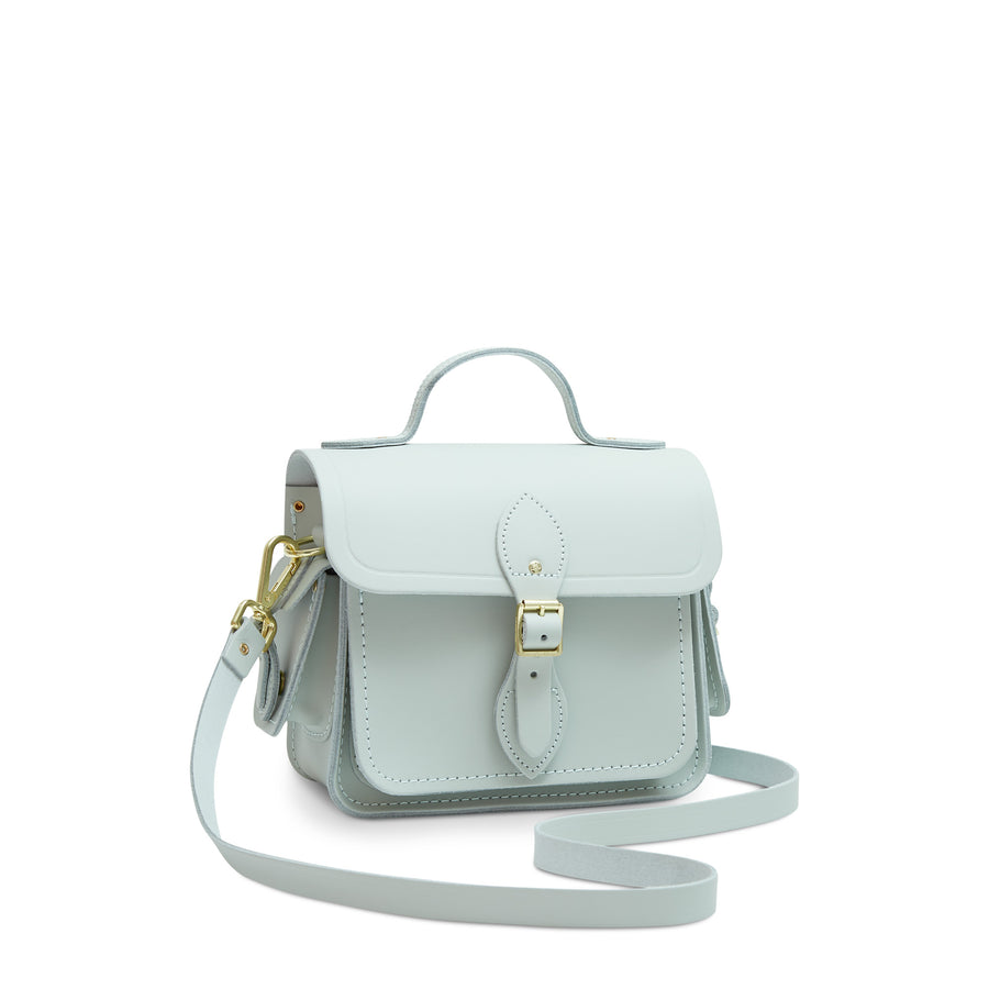 Traveller Bag with Side Pockets in Leather - Sea Foam Matte | Unisex Cross Body Bag
